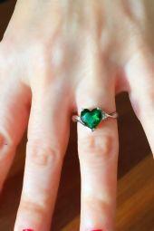 Yeşil Kuvars Pırlanta Aşk Yüzüğü (GPY0055)
